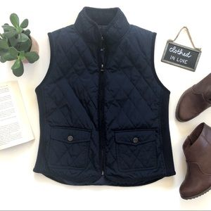 Talbots Navy Blue Quilted Side Sweater Riding Vest